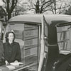 Carnegie librarians Mae Kreeger (Tillman), Jeannette Trotter, Frances Ann Beale and Margaret Moran with bookmobile, 1949.