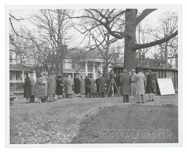 Groundbreaking for new Forsyth County Public Library on West Fifth Street, 1951.