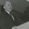 Forsyth County Public Library Dedication, 1953. Mayor Marshall Kurfees at podium.