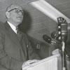 Forsyth County Public Library Dedication, 1953. Roy C. Haberkern at the podium.