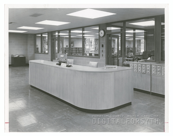 Forsyth County Public Library circulation desk, 1953.