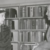 Former Carnegie Librarian, Janet Berkeley, and Meade Willis Sr. in new Forsyth County Public Library building, 1953.