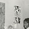 Carolyn Smith and Mrs. Thomas Smith look at art in East Winston Branch Library, 1963.