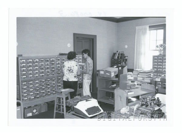 Technical Services Department of the library, located in the Agnew H. Bahnson house at the corner of West Fifth and North Spring Streets.