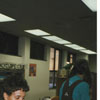 Librarian Sheila Johnson with children in the Children's Room.