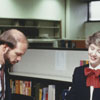 Librarian Joy White at the Business Science Department desk, 1984.