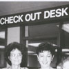 Library staff members at the beginning of the new automated circulation system, 1989.