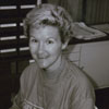Library staff member Ruth Proctor working on the library's automated circulation system, 1989.