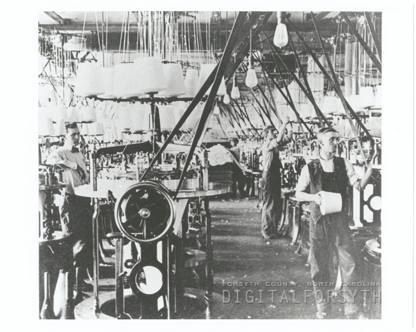 Scene inside the first Hanes Knitting factory.