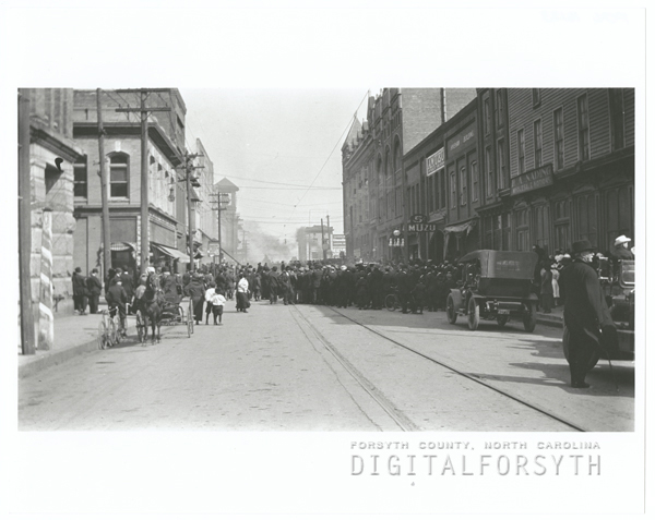 West Fourth Street looking east towards North Liberty Street, 1913.
