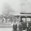 Streetcar and drivers in front of Salem Square on South Main Street.