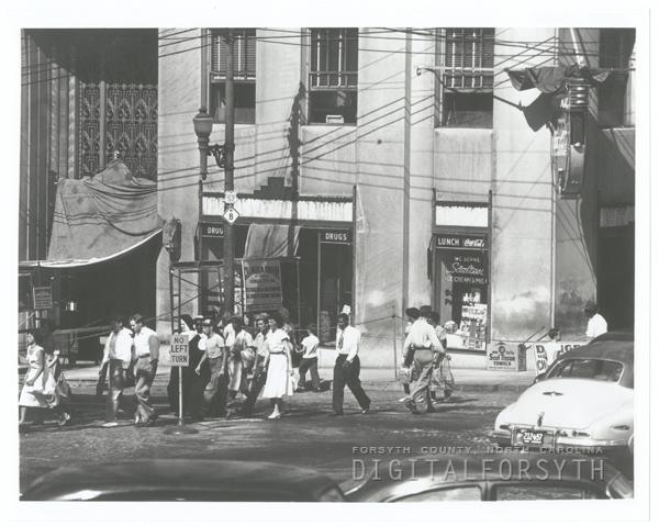Front of the Reynolds Building under renovation, 1950.