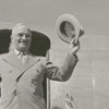 President Harry Truman arriving by airplane for the groundbreaking of Wake Forest College in Winston-Salem, 1951.