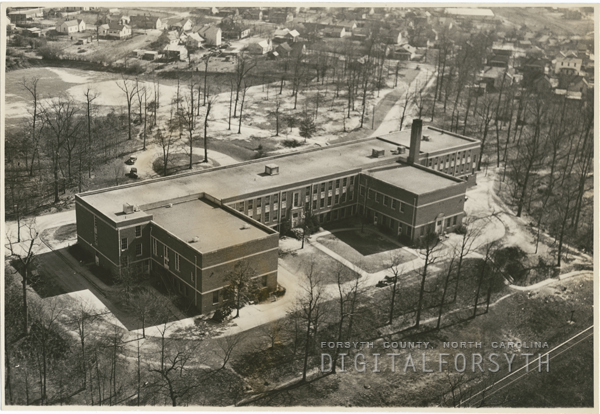 Aerial showing South High School, which later was named Gray High School, 1940.