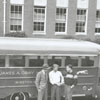 Gray High School and the school activity bus, 1946.