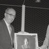 Mayor Marshall Kurfees, right, with plaque of Ernie Shore, 1957.