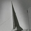 Removing the steeple on the First Presbyterian Church in preparation for the church renovation, 1970.