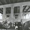 Workers being treated to lunch under the U. S. Highway 52 bridge across Waughtown Street, 1970.