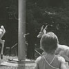 Playing with the deer and goats at Tanglewood Park, 1970.