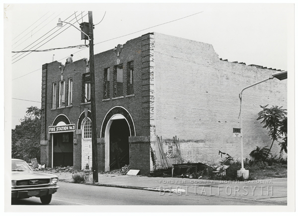 Fire station on North Liberty Street being demolished, 1971.