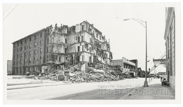 Demolition of the Zinzendorf Hotel on Main Street, 1971.
