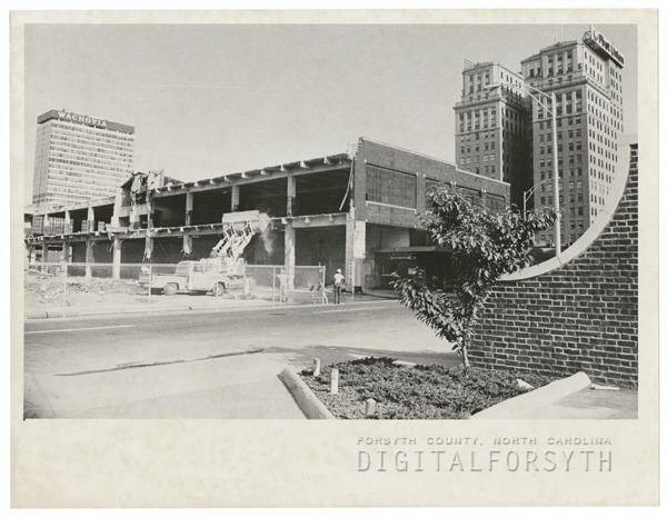 Parking garage at center, with Marshall Street shown in the photo, 1972.
