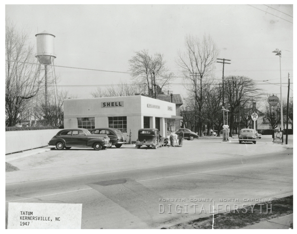 Quality Oil Company. Shell Service Station in Kernersville, N.C., 1947.