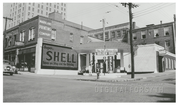 Quality Oil Company. Shell Service Station at 201 W. Third Street, corner of Trade Street.