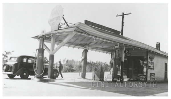 Quality Oil Company. Grover Garrett Shell Service Station at Rural Hall, N. C.