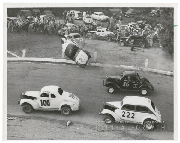 Stock car race at Bowman Gray Stadium, 1955.
