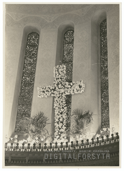 Easter decorations in the sanctuary at Centenary Methodist Church, 1939.