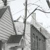 Reconstruction work in Old Salem, near the Vogler House, 1955.