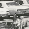 Students in the parking lot at R. J. Reynolds High School, 1979.