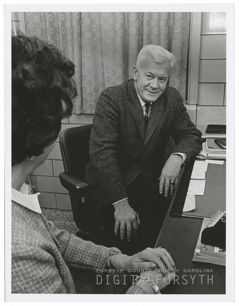 Dr. Richard Young (right), Director of Pastoral Care at Baptist Hospital, 1967.