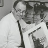 Frank Jones with photographs he mounted for the 200th anniversary celebration of Salem, 1966.