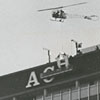 Adding letters to the top of the new Wachovia Building, 1965.