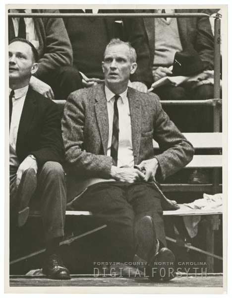 Wake Forest basketball coach, Horace 'Bones' McKinney, 1964.