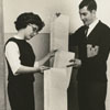 Pat Beshears and Hap Bulger, Wake Forest students, with 16 foot telegram, 1964.