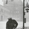 Men clearing the sidewalks of snow on West Fourth Street at Main Street, 1962.