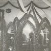 Home Moravian Church interior decorated for their 100th anniversary, 1900.