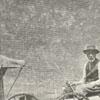 Unidentified man in a wagon near a buggy.