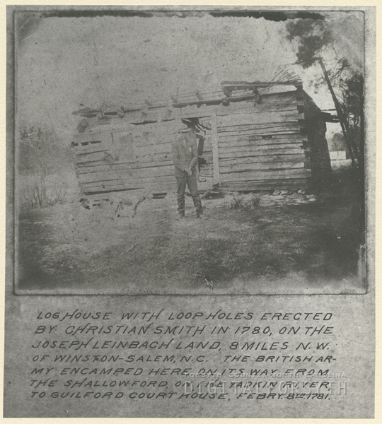 Log house built by Christian Smith in 1780, on the Joseph Leinbach land.