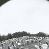 Fisheye lens view of the spectators at the Music at Sunset concert at Graylyn Estate, 1973.