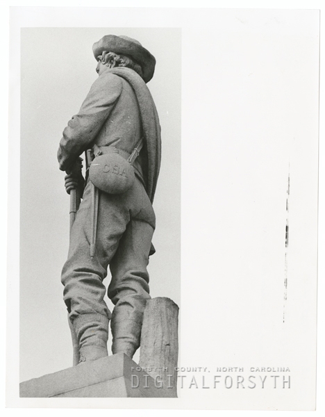 The Confederate soldier that stands near the Forsyth County Courthouse, 1973.