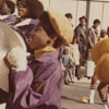 Homecoming Parade with Mt. Tabor High School Band Member Playing Cymbals