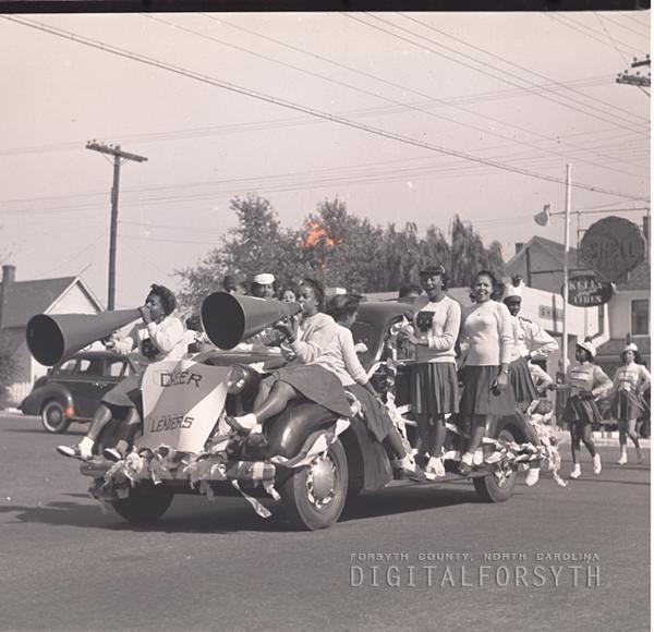 College Cheerleaders, WSTC Homecoming Parade, 1945